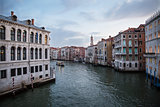 Grand Canal at night, Venice , Italy .