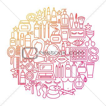 Cosmetics Line Icon Circle Design