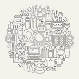 Cosmetics Line Icons Circle