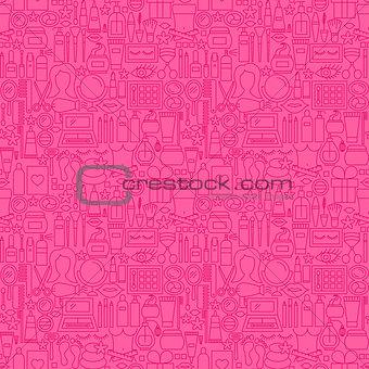 Cosmetics Line Seamless Pattern