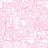 Cosmetics White Line Seamless Pattern