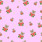 teddy bear seamless pattern. bear doll seamless pattern