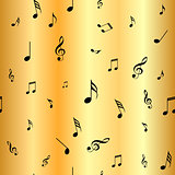 Abstract gold music seamless pattern background vector illustration for your design