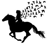Abstract illustration of woman riding a horse and birds silhouet