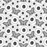 Butterflies and poppies seamless vector pattern.