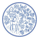 Flowers and deer plate round vector design.