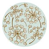 Dandelion floral round plate design vector.