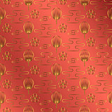 Japan fan gold on red jewel color background.