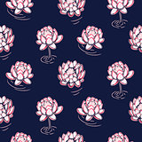 Lotus pink on dark blue vector seamless pattern.