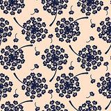 Elegant dandelion blue floral seamless vector pattern.