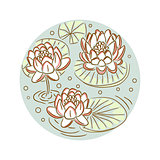 Lotus floral round plate design vector.