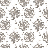 Flying dandelion grey seamless vector pattern.