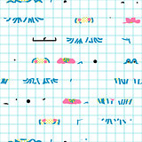Checks and abstract stripes seamless vector pattern.