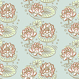 Lotus vector seamless pattern.