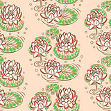 Water lily pastel pink vector seamless pattern.