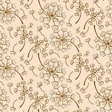 Dandelion pink pastel seamless vector pattern.