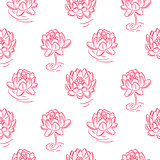 Water lily pink flowers vector seamless pattern.
