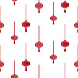 Chinese lantern simple seamless vector pattern.