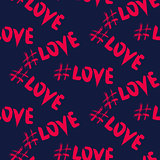 Love hashtags seamless vector pattern.