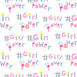 Girl power hashtags seamless vector pattern.