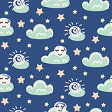 Seamless pattern with clouds and moon.