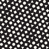 Seamless chaotic patterns. Randomly scattered geometric shapes. Abstract retro background design