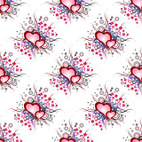 Seamless background pattern. Set of grunge hearts