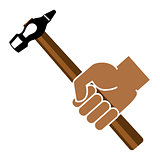 Hand holding hammer on a white background