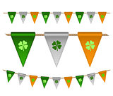 Colorful festive flags with clovers