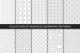 Collection of seamless geometric patterns. Simple vector backgrounds
