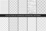 Collection of seamless geometric patterns. Simple vector backgrounds. Countur striped gray design