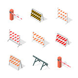 Road traffic barrier isometric, vector illustration.