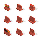 Set of plastic road barriers in 3D, vector illustration.