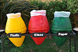 colored containers for recycling paper, plastic glass