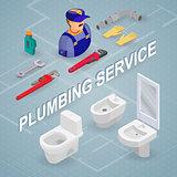Plumbing service. Isometric interior repairs concept.