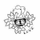 The padlock with two hearts and flowers in traditional tattoo style. Vector love illustration.