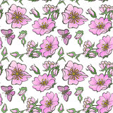 Little wild dog rose seamless background flowers with buds pattern boho style