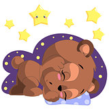 Sleeping cartoon bear clipart vector with moon and stars