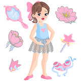 Vector illustration of little ballerina and other related items magic wand, star, glitters, flower of rose, mirror, crown, tiara.