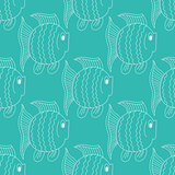 Blue funny fish seamless pattern
