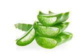Fresh juicy sliced green leaves of Aloe.