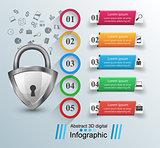 Key, lock icon. Business infographic.