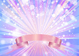 ABSTRACT BLUE BACKGROUND WITH SHINING RAYS AND A PINK RIBBON