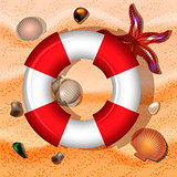 Shells, lifebuoy, and starfishes on sand background. Vector illustration.