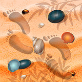 Hello, summer. Summer background sand, seashell and footprints in the sand illustration