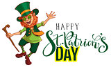 Happy St.Patrick's Day text greeting card. Red funny leprechaun gaily dances