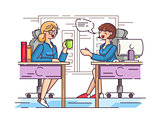 Girls office workers communicate in workplace