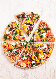Fresh gluten free vegetable vegetarian pizza