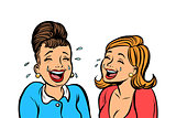 Joyful girlfriends women laugh isolate on white background