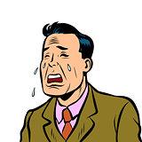 Funny man crying